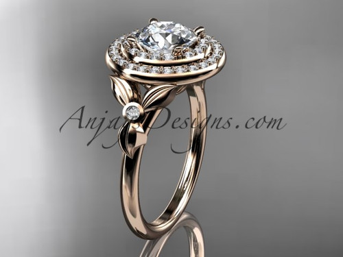 "14kt rose gold diamond floral wedding ring, engagement ring with a ""Forever One"" Moissanite center stone ADLR133"