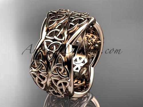 Rose Gold Engagement Rings, Celtic Wedding Band CT7352G