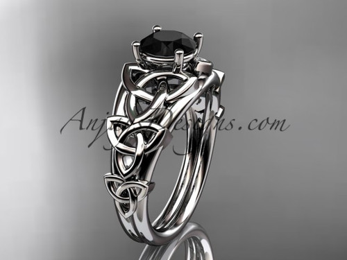 14kt white gold celtic trinity knot engagement ring , wedding ring  with a Black Diamond center stone CT765