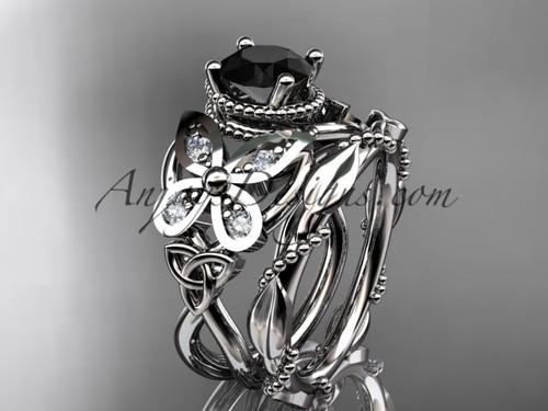 platinum diamond celtic trinity knot  wedding ring, butterfly engagement set with a Black Diamond center stone CT7136S
