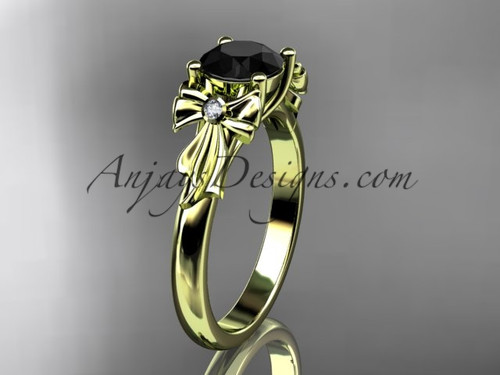 14kt yellow gold diamond unique engagement ring, wedding ring with a Black Diamond center stone ADER154