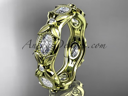 14kt yellow gold  diamond leaf and vine wedding band,engagement ring ADLR152B Nature inspired jewelry
