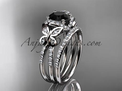 platinum diamond butterfly wedding ring, engagement set with a Black Diamond center stone ADLR141S