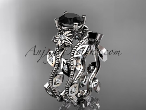 platinum diamond leaf and vine wedding ring, engagement ring, engagement set with a Black Diamond center stone ADLR151S
