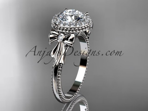 Diamond Bow Wedding Ring, Platinum Engagement Ring ADER157