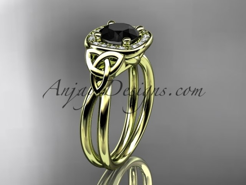 14kt yellow gold black diamond celtic engagement ring CT7330