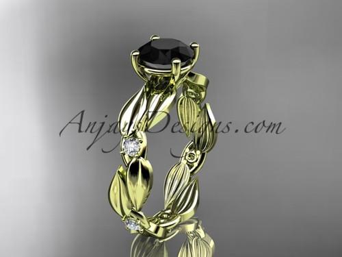 Black Diamond Ring - Yellow Gold Leaf Bridal Ring ADLR58