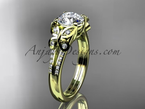 Butterfly Ring Yellow Gold Moissanite Bridal Ring ADLR514