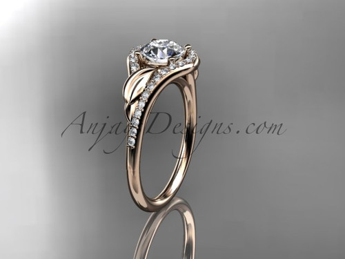 """14kt rose gold diamond leaf wedding ring, engagement ring with a """"Forever One"""" Moissanite center stone ADLR334"""