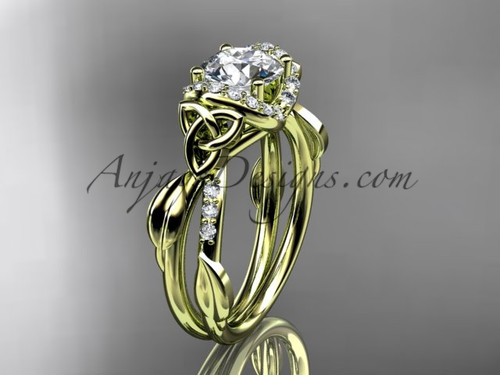 """14kt yellow gold diamond celtic trinity knot wedding ring, engagement ring with a """"Forever One"""" Moissanite center stoneCT7274"""