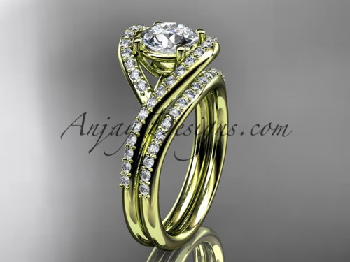 """14kt yellow gold diamond wedding ring, engagement set with a """"Forever One"""" Moissanite center stone ADLR383S"""