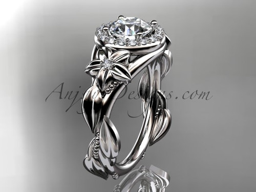 "14k white gold diamond unique leaf and vine, floral engagement ring with a ""Forever One"" Moissanite center stone ADLR327"