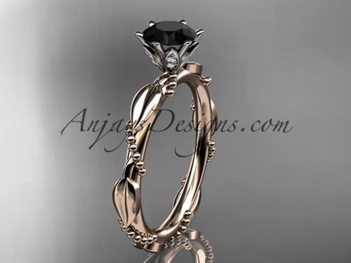 14k Rose Gold Black Diamond Leaf Wedding Ring ADLR178