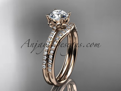 "14kt rose gold diamond floral wedding ring, engagement set with a ""Forever One"" Moissanite center stone ADLR92S"
