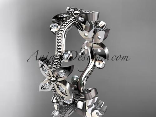 platinum  diamond leaf and vine wedding ring, engagement ring, wedding band ADLR3A