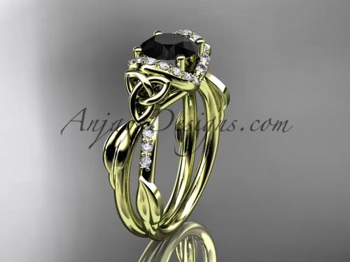 Yellow Gold Black Diamond Celtic Engagement Ring CT7274