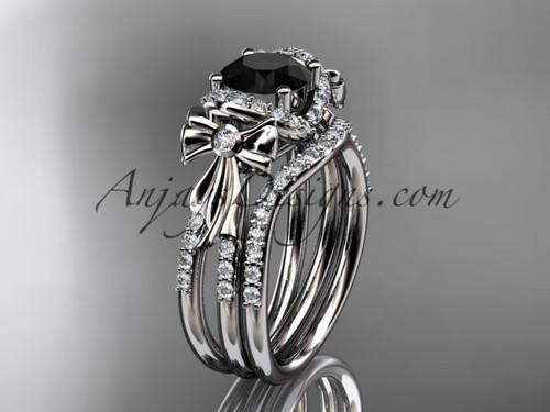 platinum diamond unique engagement set, wedding ring, bow ring with a Black Diamond center stone ADER155S