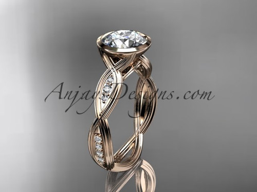 "14k rose gold diamond wedding ring,engagement ring with  ""Forever One"" Moissanite center stone ADLR24"