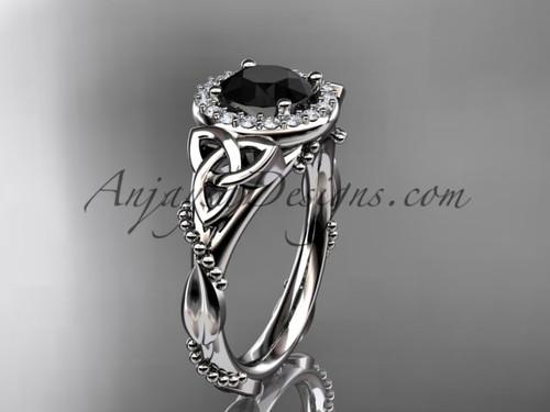 platinum diamond celtic trinity knot wedding ring, engagement ring with a Black Diamond center stoneCT7328
