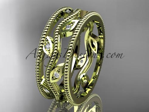 14k yellow gold diamond leaf and vine wedding band,engagement ring ADLR7B