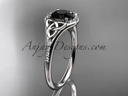 platinum diamond celtic trinity knot wedding ring, engagement ring with a Black Diamond center stone CT7126