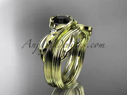 Unique 14kt yellow gold floral engagement set with a Black Diamond center stone ADLR324S