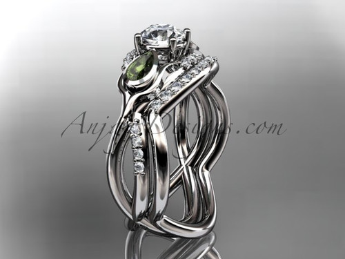 Tulip Bridal Ring, Peridots Wedding Set for women , Platinum Flower Engagement Ring  ADLR226