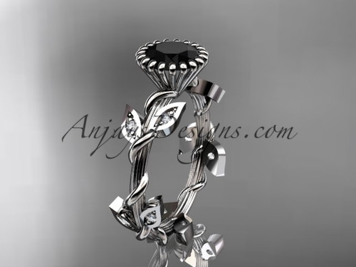 14kt white gold diamond leaf and vine wedding ring,engagement ring with a Black Diamond center stone ADLR20A