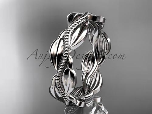 Unique 14k white gold leaf and vine engagement ring, wedding band ADLR258G