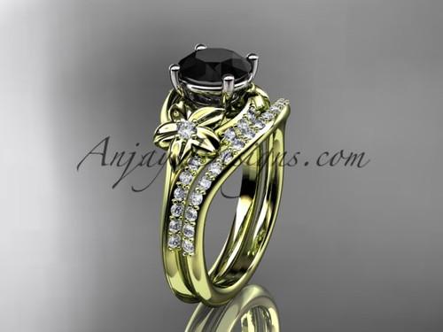 14kt yellow gold diamond floral wedding set, engagement set with a Black Diamond center stone ADLR125S