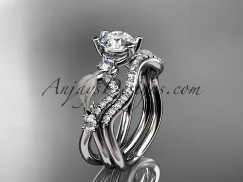 "platinum diamond leaf and vine wedding ring, engagement set with ""Forever One"" Moissanite center stone ADLR68S"