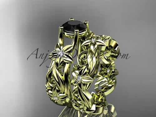 14k yellow gold diamond floral wedding set, engagement set with a Black Diamond center stone ADLR216S