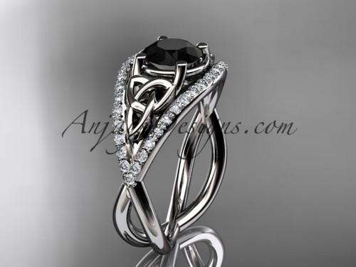 platinum celtic trinity knot engagement ring ,diamond wedding ring with Black Diamond center stone CT788