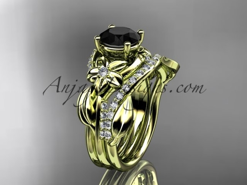 Unique 14k yellow gold diamond flower, leaf and vine wedding ring, engagement set with a Black Diamond center stone ADLR224S