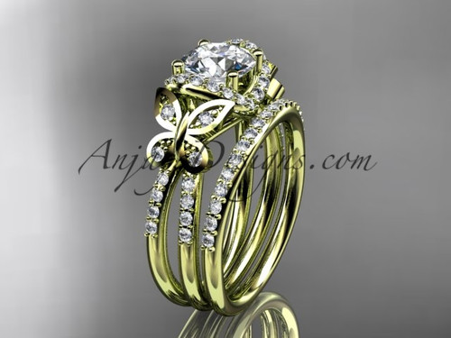 "14kt yellow gold diamond butterfly wedding ring, engagement set with a ""Forever One"" Moissanite center stone ADLR141S"