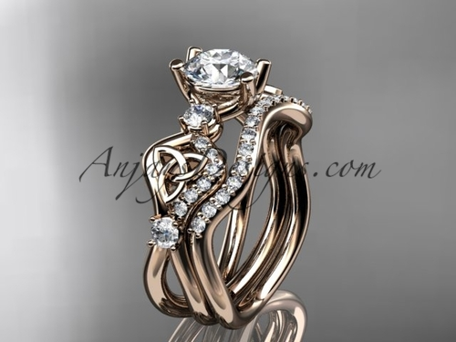 "14kt rose gold celtic trinity knot engagement set, wedding ring with a ""Forever One"" Moissanite center stone CT768S"