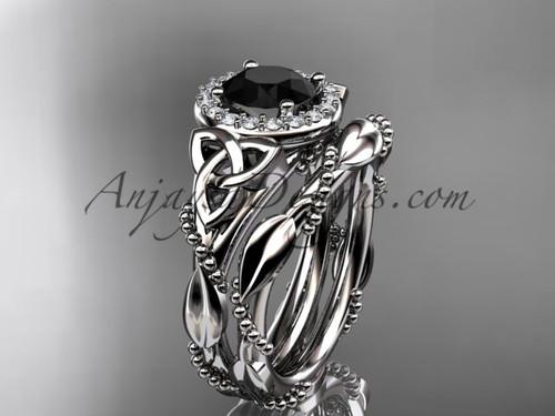 14kt white gold diamond celtic trinity knot wedding ring, engagement set with a Black Diamond center stoneCT7328S