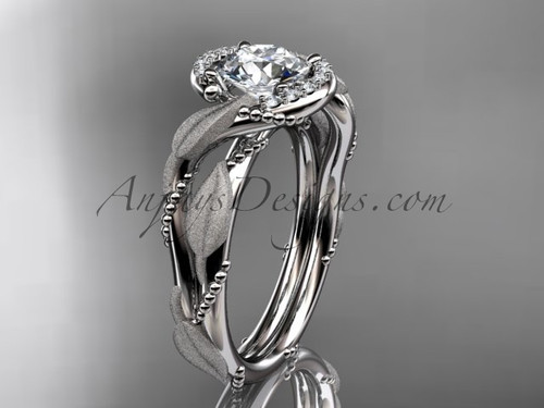 "14kt white gold diamond leaf and vine wedding ring, engagement ring with  ""Forever One"" Moissanite center stone ADLR65"