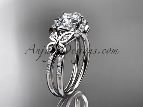 """Platinum diamond butterfly wedding ring, engagement ring with a """"Forever One"""" Moissanite center stone ADLR141"""
