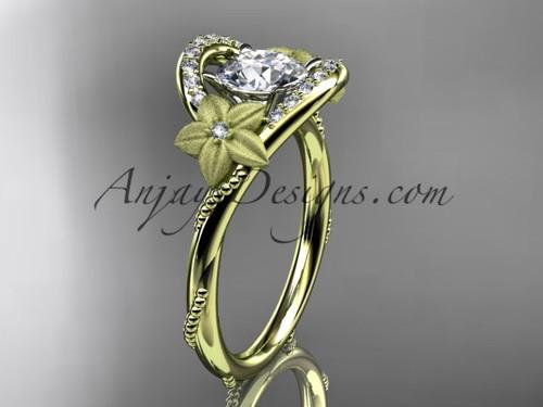 Flower Wedding Rings, White Gold Moissanite Bridal Ring ADLR166