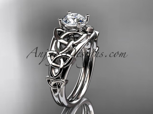 "14kt white gold celtic trinity knot engagement ring , wedding ring  with a ""Forever One"" Moissanite center stone CT765"