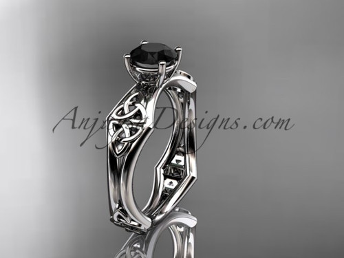 platinum celtic trinity ring,  triquetra ring, engagement  ring with a  Black Diamond center stone CT7356