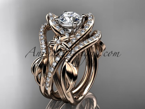 """14kt rose gold diamond leaf and vine engagement ring with  """"Forever One"""" Moissanite center stone and double matching band  ADLR369S"""