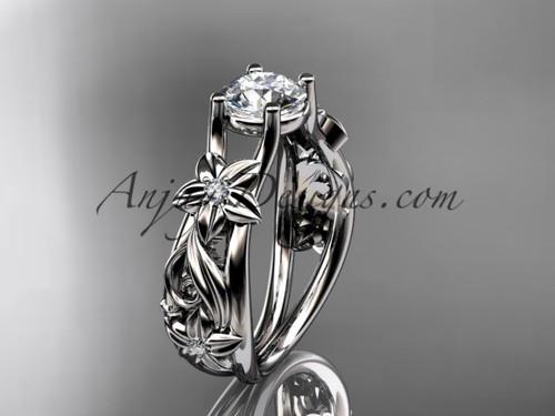 Flower Engagement Ring Platinum Moissanite Ring ADLR216
