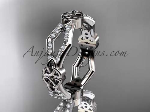 platinum diamond celtic trinity knot wedding band,  triquetra ring, engagement  ring CT7518B