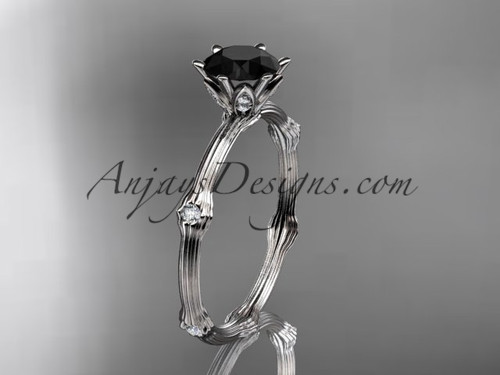 Vine Engagement Ring - White Gold Black Diamond Ring ADLR38