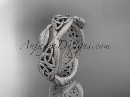 platinum celtic trinity knot wedding band, matte finish wedding band,  triquetra ring, engagement  ring CT7520G