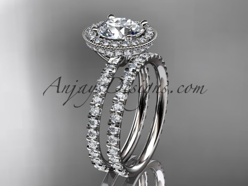 """platinum diamond unique wedding ring, engagement set with a """"Forever One"""" Moissanite center stone ADER106S"""