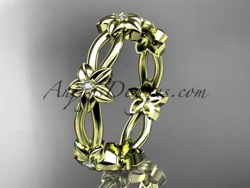 14k yellow gold diamond leaf,vine flower wedding ring,engagement ring ADLR19B