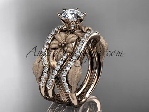 """Unique 14kt rose gold diamond flower, leaf and vine wedding ring, engagement ring with a """"Forever One"""" Moissanite center stone and double matching band ADLR221S"""